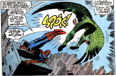 Amazing Spider-Man #64, john romita, lying atop a chimney stack, spider-man kicks the vulture who is flying above him