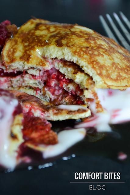 Paleo Raspberry Banana Pancake Stack Dairy Free Gluten Free Nut Free