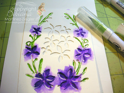 dies as stencils color with watercolors step 3