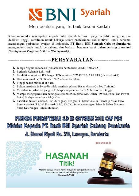 Lowongan Kerja 2015 PT Bank BNI Syariah