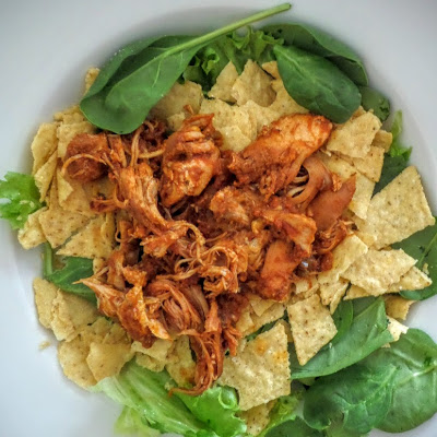 Slow Cooker Chicken Taco Meat:  A simple slow cooker recipe of chicken cooked in salsa and spices.  Great for tacos, taco salad, burritos, or even over rice.