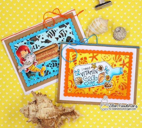 Under the Sea Card Duo by Ellen Haxelmans | Message in a Bottle, Narly Mermaids, and Vitamin Sea Stamp Sets  and Seashell and Tropical Fish Stencils by Newton's Nook Designs #newtonsnook #handmade