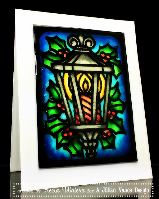 AJVD, Kecia Waters, Copic markers, Christmas, stained glass