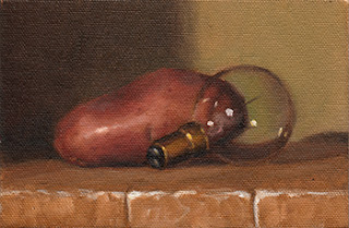 Oil painting of a Désirée potato beside an incandescent light bulb.
