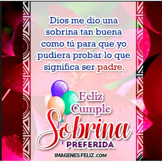 Feliz Cumpleaños Sobrina preferida. Frases amorosas