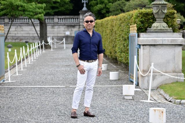 40代メンズの白パンツ コーディネート