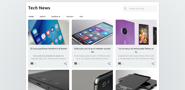 Tech News Blogger Template Grid Style