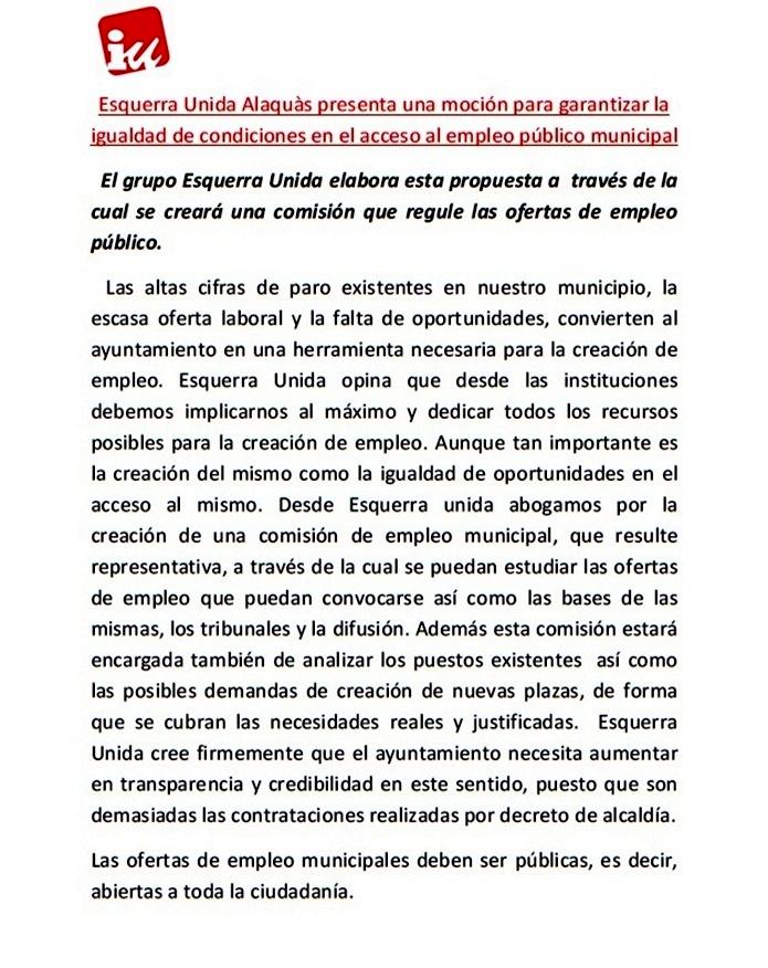 Esquerra unida alaquas presenta una mocion para garantizar - Trabajo en alaquas ...