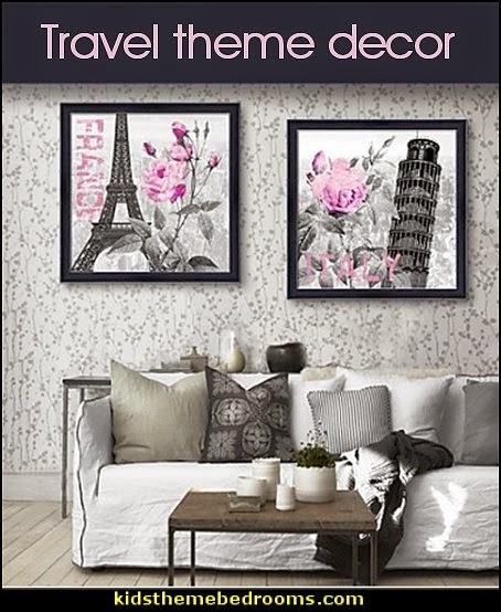 European Style Framed Canvas Print Travel themed bedroom decor