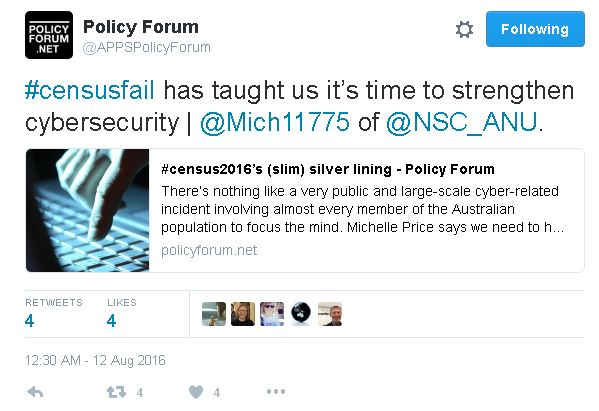 Image Attribute: Twitter Screenshot of  APPS Policy Forum's Tweet