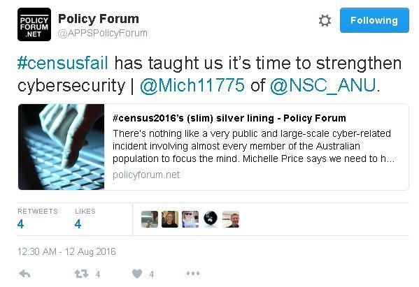 Image Attribute: Twitter Screenshot of  APPS Policy Forum's Tweet