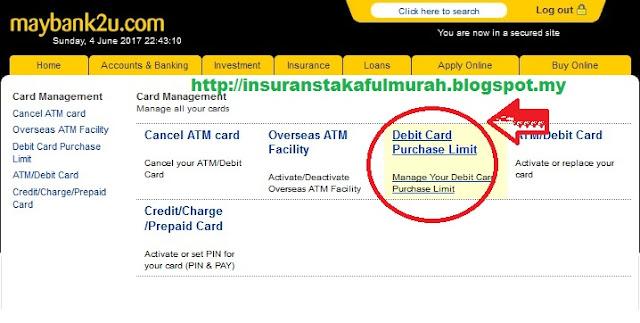 Cara Tukar Limit Debit Card Maybank dengan maybank2u