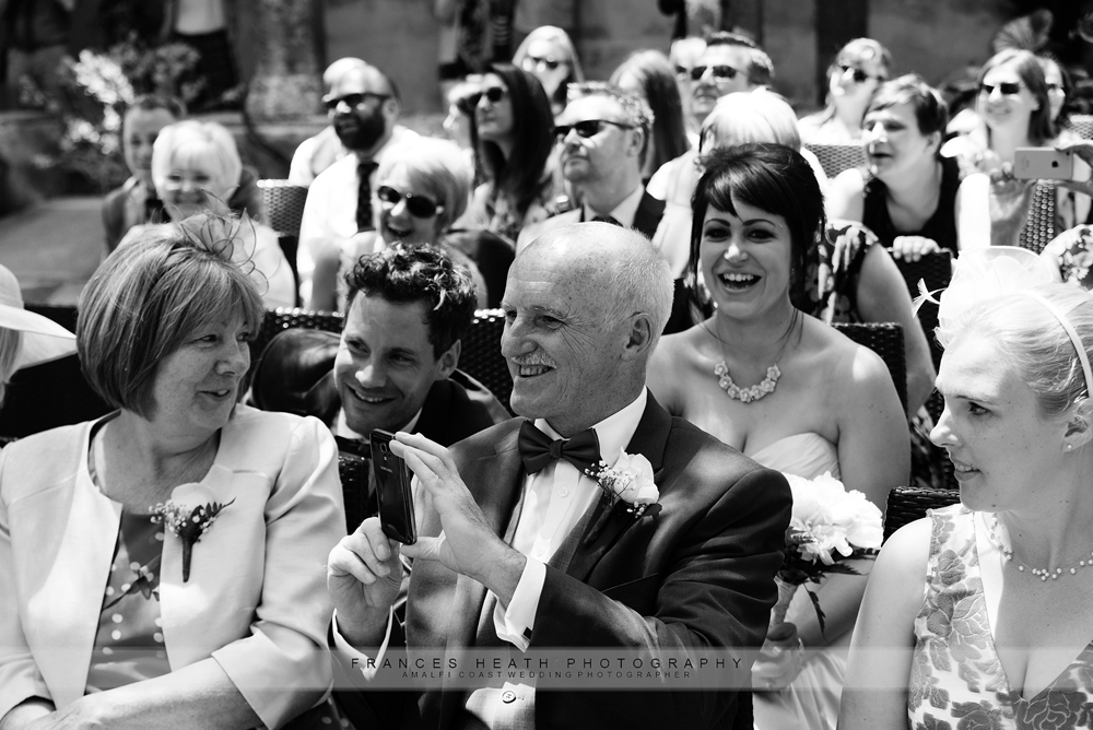 Wedding guests during civil ceremony in Sorrento