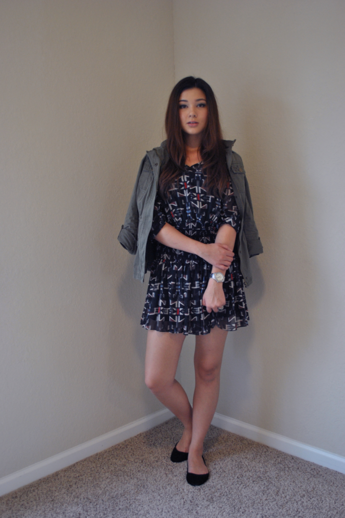Charlotte Russe, Military Jacket, Pull&Bear bag, Queen's Wardrobe dress