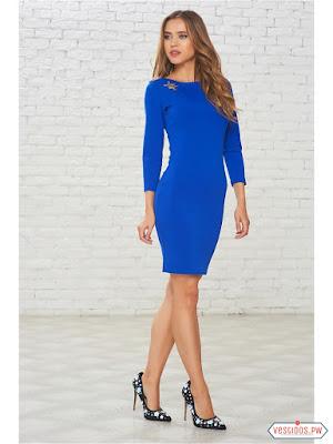 vestidos color azul formales