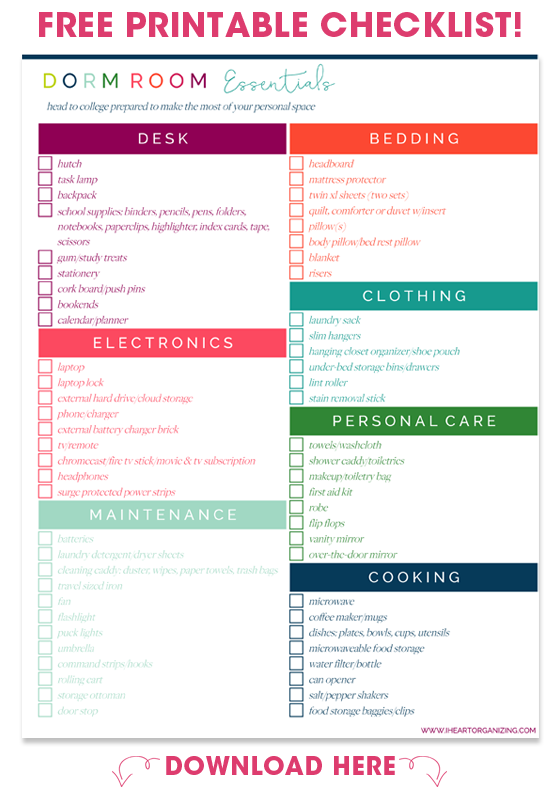 Download Your Free Copy Of The Dorm Room Checklist