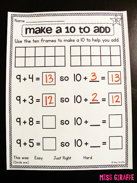 How to teach the make a 10 to add addition strategy in a lot of fun ways including the adding 9 to a number strategy
