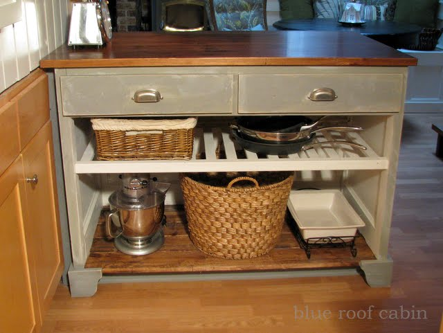 Blue Roof Cabin Kitchen Island From A Door