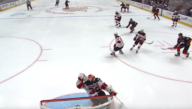 NJ Devils Ben Lovejoy own goal vs Anaheim Ducks