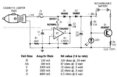 Electronic12Vdc Mobile Battery Charger Circuit Diagram