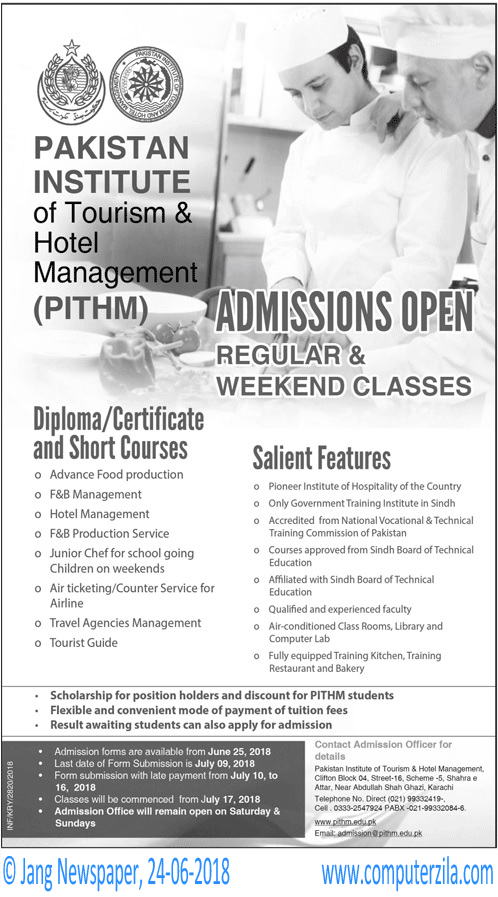 Pakistan Institute Of Tourism & Hotel Management (PITHM) Admissions Fall 2018