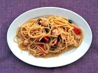 Linguine με μπακαλιάρο σε σάλτσα με τοματίνια, ελιές και κάπαρη - by https://syntages-faghtwn.blogspot.gr