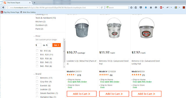 Alternative cheap sauna buckets sold at Home Depot.