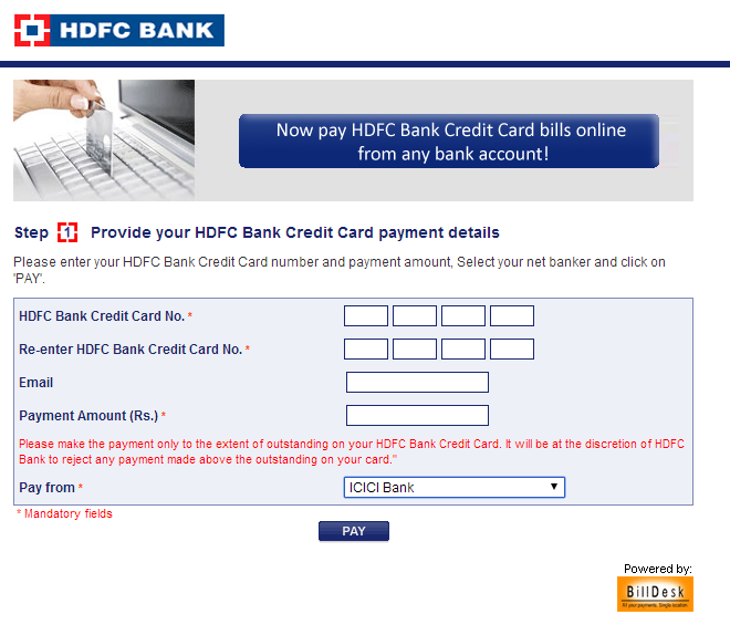 hdfc bank credit card bill view