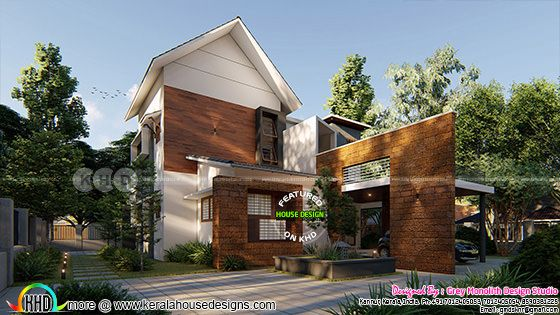 2649 square feet mixed roof modern 4 bhk home