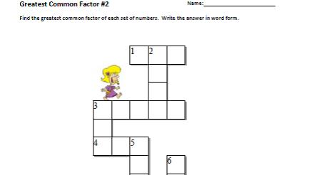 Grade 8 Math: Greatest Common Factor Crossword Puzzle