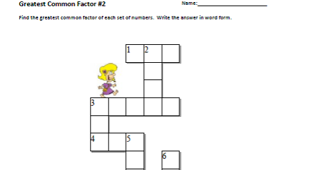 Grade 8 Math: Greatest Common Factor Crossword Puzzle