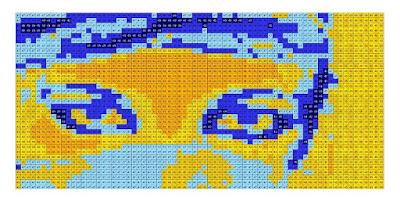 Opus Pixellatum Pop Art mosaic portrait model-simulation, light tones.