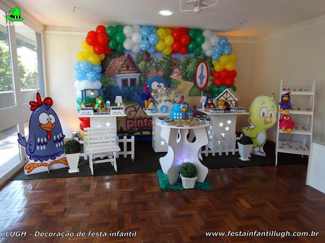 Decoração provençal da Galinha Pintadinha para festa de aniversário infantil - mesa decorada na Barra - Rj