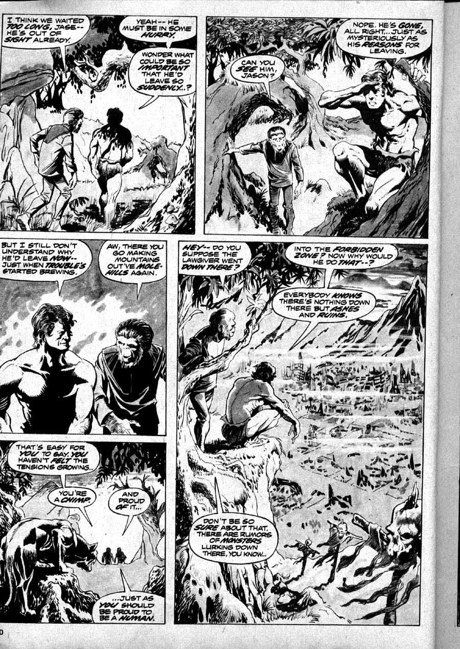 Planet of the Apes v1 #1 curtis magazine page art by Mike Ploog