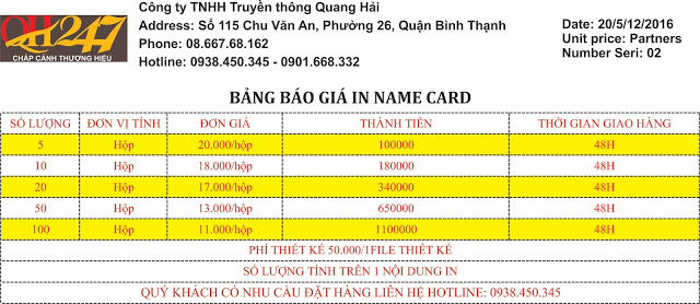 In name card nhanh