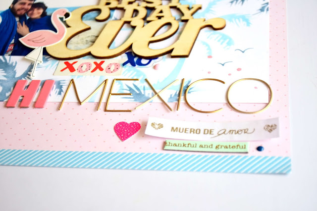 Layout utilizando stencil y tintas distress