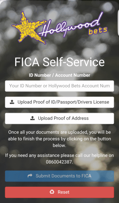 The new Hollywoodbets FICA Self-Service website - where you can upload your documents directly to your Hollywoodbets account
