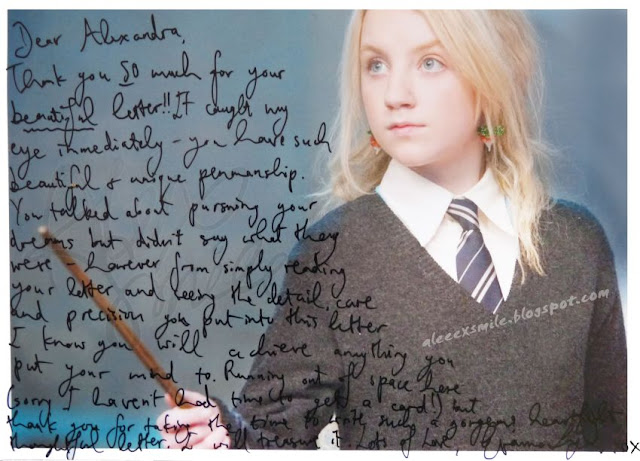 Evanna Lynch original  autograph, autograf, VV, Aleeex Smile Harry Potter