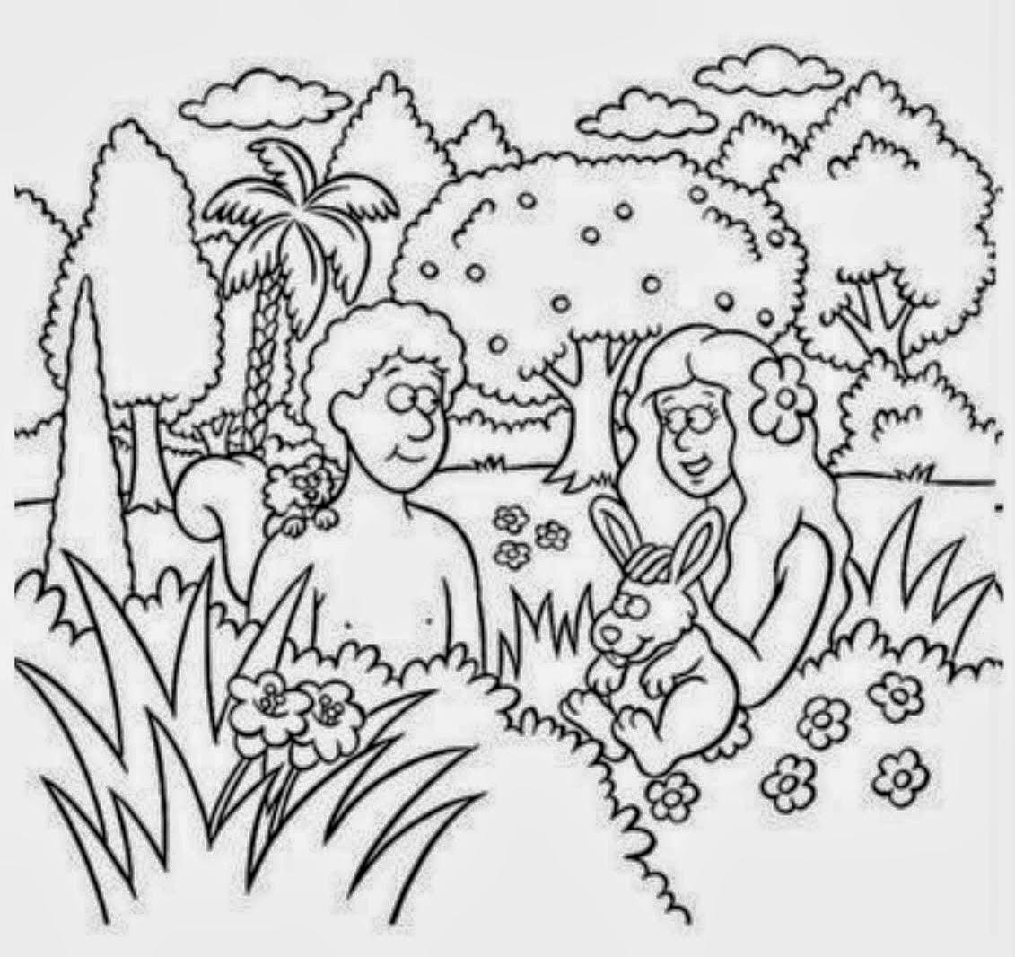 Adán Y Eva Para Colorear Dibujos Para Niños