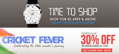 Myntra Cricket Fever Sale : Upto 70% Off + Additional 30% Discount + Free Timex Watch on Cart Cart Value above Rs.4999