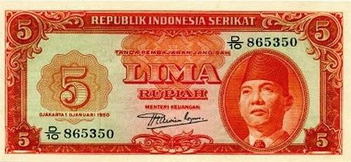 5 rupiah bung karno uang indonesia