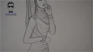 تعلم رسم بنت محجبة بالرصاص