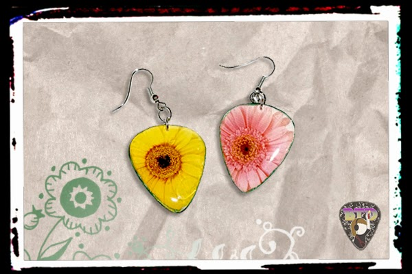 Pink & Yellow Flowers Guitar Pick Earrings