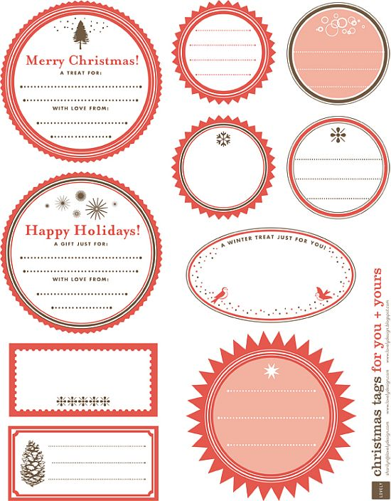 awesome round shape pink printable Christmas gift tags for free