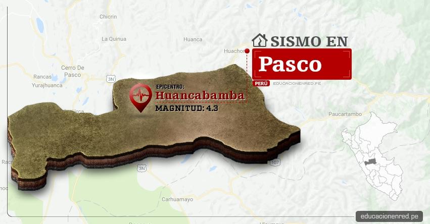 Temblor en Pasco de 4.3 Grados (Hoy Domingo 19 Febrero 2017) Sismo EPICENTRO Huancabamba - Oxapampa - IGP - www.igp.gob.pe