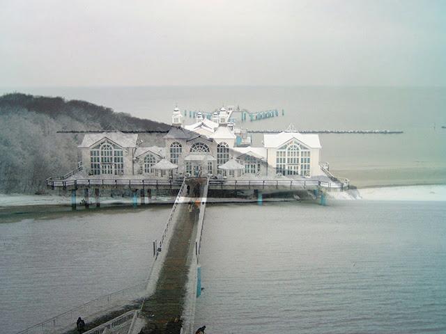 2in1 Photoday - Vorher Nachher Foto : Die Selliner Brücke verschoben zu den Kreidefelsen