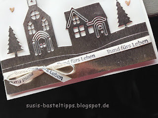 Hochzeitskarte mit Stampin' Up! Edgelits Winterstädtchen von Demonstratorin in Coburg