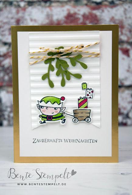 Stampin Up Bente Stempelt Weihnachten christmas Elf Wichtel Weihgnachtswerkstatt Santas Workshop Schubkarre Geschenke