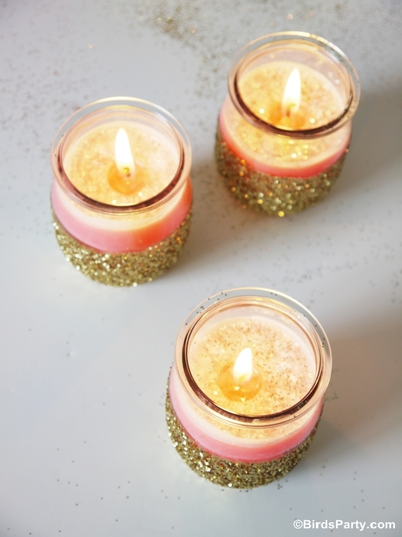DIY Pink Candles and Glitter Candle Holders - BirdsParty.com