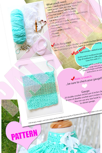 Let Them Eat Cake Crochet Neck Warmer Pattern in Mint by Mademoiselle Mermaid